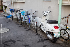 Street View / Tokyo, Japan (yameme) Tags: travel bike japan canon eos tokyo milk vespa  shinagawa  711  meguro    nishikoyama  24105mmlis   5dmarkii 5d2