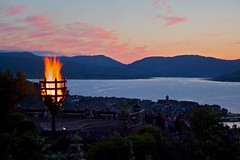 Beacon (ericwyllie) Tags: mountains colour outdoors scotland greenock eric cityscape background events places backgrounds gourock 2012 inverclyde lylehill diamondjubilee ericwyllie beaconlighting