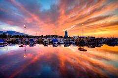 Just sunset (Nejdet Duzen) Tags: trip travel sunset sea cloud reflection turkey boat day cloudy trkiye deniz sandal izmir bulut gnbatm yansma turkei seyahat inciralt