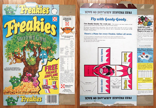 1975 Ralston Freakies Cereal Box Goody Goody airplane