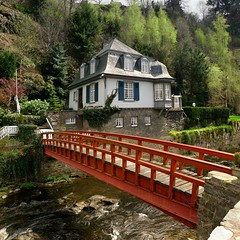 Historic house in Monschau only accessible via red footbridge (Bn) Tags: park street bridge houses red castle nature river germany private walking geotagged town spring topf50 scenery footbridge north ruin charm eifel historic ruine valley hillside quaint picturesque venn haller topf100 fortress narrow monschau duitsland unchanged hedges timbered roer rur hohes rhinewestphalia 100faves 50faves schilderachtig noordrijnwestfalen geo:lon=6242326 geo:lat=50553026