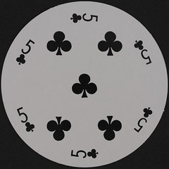Round Playing Card 5 of Clubs (Leo Reynolds) Tags: playing club canon eos iso100 deck card round squaredcircle clubs 60mm f80 circular playingcard carddeck 40d hpexif 0077sec xleol30x sqset079