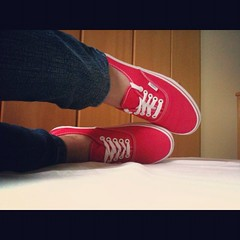 Off The Wall (her lovely heart) Tags: red shoes sneakers vans swag authentic