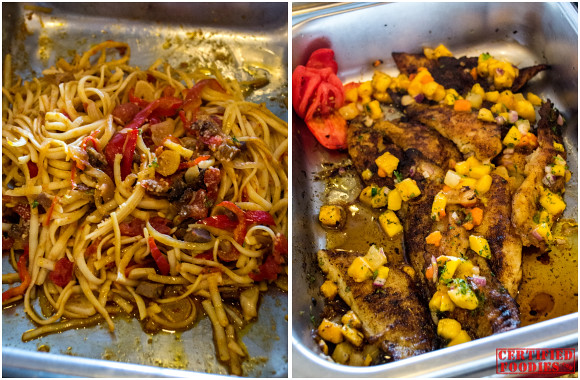 Linguine with Lamb and Peppers, and Cajun Fish Fillet with Tropical Salsa at Mario's Sunday Buffet