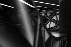 ...a line... (ines_maria) Tags: vienna wien city light bw reflection monochrome contrast underground subway u2 candid line streetphoto spiegelung karlplatz