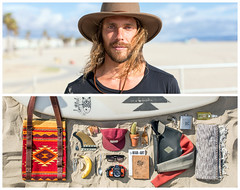 Romain Diptych (J Trav) Tags: california venice portrait beach persona diptych surf surfer whatsinyourbag theitemswecarry showusthecontentsofyourbag thingsorganizedneatly everydayessentialitems
