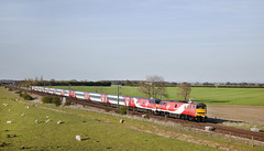 91105 Colton Junction 04/05/2016 (Flash_3939) Tags: uk red two electric train flat may rail railway junction virgin end colton locomotive blunt slab locos virgintrains livery eastcoastmainline 2016 ecml 91105 class91 91125 bn18 82220 toptail 1y47