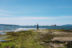 Low Tide (thekevinchang) Tags: ocean park canada seaweed vancouver boats britishcolumbia tide ships stanleypark lowtide algae freighters