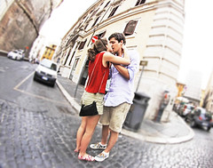 When in Rome... (kirstiecat) Tags: italy rome roma love kiss kissing couple italia strangers romance lovers together moment embrace cinematic beautifulstrangers irisshiftblur