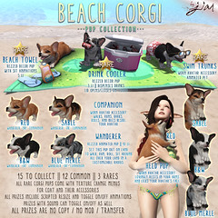JIAN Beach Corgis (The Arcade June) ([JIAN]) Tags: ocean dog pets sun cute beach animal puppy fun pembroke corgi puppies mesh secondlife shore welsh pup jian gacha