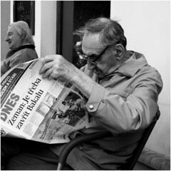 You must close Bakala,Czech or new Thriller (tomasboth61) Tags: street old blackandwhite window cafe chair linie newspapers mans streetphoto bothfoto