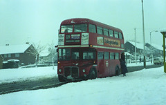 RM771 (SP) struggles in bleak weather when seen in Midfield Way on the St Pauls Cray estate on a freezing 11-12-81. Copyright Ian Cuthbertson (I C railway photo's) Tags: rm771 sp bus snow routemaster londontransport route229