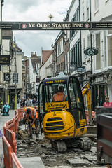 Road Works (edwardfelix1996) Tags: road york city stone contrast workers nikon gate machine historic busy works 60mm f28 noisy digger workman d3300