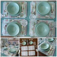 I repainted more dishes and made some place mats and napkins. (JunqueChicDoll) Tags: kitchen one miniature eating room barbie dining chic dishes sixth diorama shabby playscale