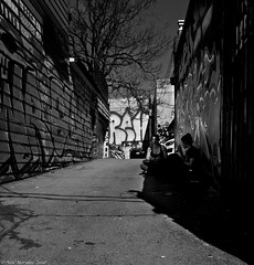 Girls and Graffiti. (Neil. Moralee) Tags: street girls shadow people blackandwhite bw sunlight white toronto ontario canada black tree art girl monochrome youth training ink painting graffiti mono ally nikon mural paint sitting shadows bright outdoor candid culture property neil tags driveway crime vandalism damage walls job d7100 moralee neilmoralee canadaneilmoraleenikond7100