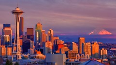 Seattle, Washington - Skyline (Matt Pasant) Tags: seattle skyline washington wa spaceneedle kerrypark magichour mountrainer canonef70200mmf28lis