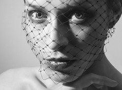 (Amelia_Mary) Tags: white black face female self close mesh lips