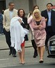 Michelle Heaton and husband, Hugh Hanley attend the christening of their baby daughter, Faith Hanley, with family and friends at Ballyroan parish church Dublin, Ireland