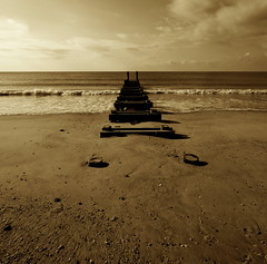 Waves Roll In (Catskills Photography) Tags: ocean beach sepia waves angle jetty tamron groin 1024mm lenswide