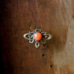 victorian brass & coral brooch thumbnail