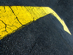 (phunnyfotos) Tags: road sign yellow canon australia right victoria vic arrow asphalt carpark canonpowershots2is bitumen canonpowershot gippsland phunnyfotos