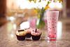 Indulgence - Day 9/365 (Olivia L'Estrange-Bell) Tags: life pink glass cupcakes still indoor cupcake 365 milkshake smoothie strawberrymilkshake strawberrysmoothie 365days 365project oliviabell oliviabellphotography photoofcupcake tbsart