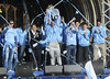 Manchester City FC Manchester City Premier League Title victory parade. Players and staff of Manchester City parade the English Premier League Trophy through the city centre from an open-top bus. Manchester, England