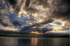 Annular Solar Eclipse Sunset (Thad Roan - Bridgepix) Tags: sunset sun moon foothills mountain lake nature water clouds landscape solar eclipse colorado denver rockymountains chatfield hdr facebook littleton d800 annular 201205