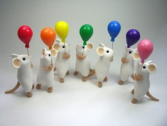 Balloon Mice (Quernus Crafts) Tags: cute balloons mouse mice polymerclay whitemice rainbowcolours rainbowballoons quernuscrafts