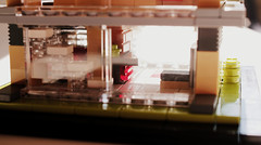 Casa dell'auto rossa // 7 (Kitchen, Stairs) (jpmacmillan) Tags: house macro car architecture modern racecar design casa lego garage bricks minimal micro legos blocks racer redcar moc rossa microscale dellauto blockworks