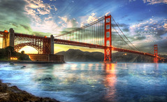a golden treat (Kris Kros) Tags: world sf california birthday ca bridge sunset sun point happy golden twilight gate san francisco you fort expression famous touch may landmark icon kris rays treat 27 legend beams hdr 75th kk kkg 2012 photomatix kros kriskros 5xp kkgallery agoldentreat