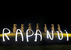Light painting on Moais In Ahu Akivi, Easter Island, Chile (Eric Lafforgue) Tags: chile lighting longexposure sculpture lightpainting color colour archaeology latinamerica southamerica statue horizontal night chili pacific nobody nopeople illuminated worldheritagesite torch pacificocean nightview moai easterisland colorphoto rapanui inarow isladepascua hangaroa archeologicalsite southpacificocean  6409  malelikeness ili  polynesianisland southamericanculture   ile    southeasternpacificocean polynesiantriangle chileanpolynesia