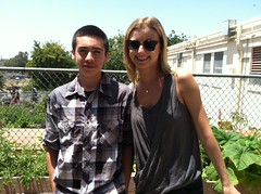 Emily VanCamp and a happy student gardener