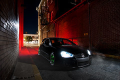 Back Alley Game (Ronaldo.S) Tags: green vw work alley nikon smoke air gti f28 slammed alienbees 2035mm equips b800 d700