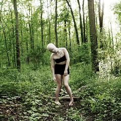 numb (Valerie Kasinski) Tags: green art broken girl leaves photo leaf pain log woods alone emotion head eerie creepy faceless haunting conceptual bandage numb 52 weak lean limp 52week
