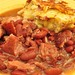 Mmm... red beans and cured ham hocks with cheddar bacon cornbread