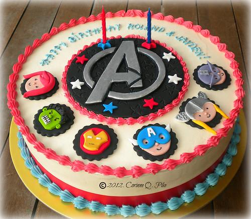 Avengers-themed cake