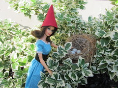 (6 of 10) Garden Gnomes: Checking Nests (Foxy Belle) Tags: red favorite bird vintage garden mod doll dolls nest boots little egg barbie tagged riding fantasy flip hood squishy brunette tnt favourite gnomes marlo