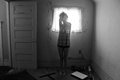 Bugs (Deathexit12) Tags: door urban house abandoned girl shirt standing canon hair blackwhite illinois paint decay exploring danielle barefoot weathered exploration derelict abandonment emotive striped trigger trespassing upset chipping deathexit12