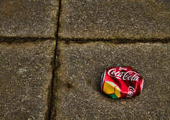 Crumpled (Joseph Pearson Images) Tags: stilllife tin coke can cocacola crumpled