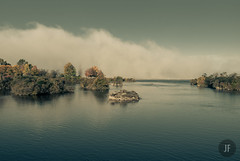 Wall of mist (jayfournier) Tags: autumn trees water fog river ottawa calm processed