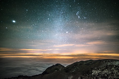 Sea stars (Andrea Securo) Tags: italy mountains night clouds trekking way stars landscape landscapes hiking milky trentino dolomites dolomiti nightscapes rolle passo