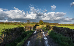 A Lane After the Rain!.. (johngregory250666) Tags: park camera new old uk blue light sky orange mountain tree green nature field yellow clouds digital rural fence lens landscape outside moss spring nikon exposure pretty shadows bright outdoor district derbyshire sheffield hill great natur scene ridge national valley lane april fields serene nikkor moor grassland countrylane footpath stile springtime ridgeway oilseed imagesofengland