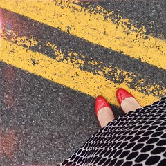 Chicken crossing the road (BLACK EYED SUZY) Tags: road chicken graphic girly polkadots heels motivation fears redshoes afterlight