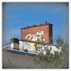 Le chat volant (au35) Tags: cat chat tag peinture ville orlans toits chemines peinturesmurales