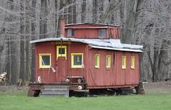 Hartstown, Pennsylvania (3 of 4) (Bob McGilvray Jr.) Tags: wood railroad red train wooden spring pennsylvania farm tracks caboose pa cupola treeline hartstown theloosecaboose