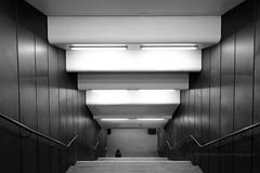 139/366 - Waiting... (Sinuh Bravo Photography) Tags: blackandwhite berlin monochrome stairs canon subway indoor ubahn ayearinphotos eos7d junfernheide potd2016