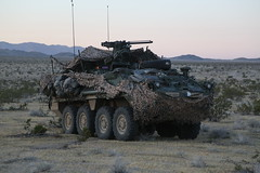U.S Army Soldiers assigned to 1st Battalion, 23rd Infantry Regiment, 1st Brigade Combat Team, 2nd Infantry Division conduct security patrols in a Stryker armored vehicle during Decisive Action Rotation 16-06 at the National Training Center in Fort Irwin, (Operations Group, National Training Center) Tags: california usa army military calif stryker ntc fortirwin 1606 pfcstanley