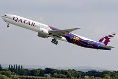 Qatar A7-BAE 27-5-2016 (Enda Burke) Tags: barcelona airplane manchester football aviation soccer engine takeoff 777 bfc qatar manchesterairport barcelonafc b777 boeing777300 laliga egcc qatarairways 777300 ge90 7773 avgeek b777300 a7bae