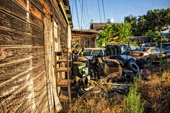 THE DISAPPOINTMENT OF DOMINION (akahawkeyefan) Tags: wood cars trash shopping junk tires fresno oil cart davemeyer